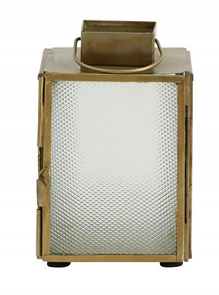 Small Brass and Frosted Glass Lantern