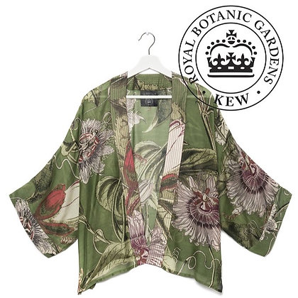One Hundred Stars Kew RBG Passionflower green kimono jacket