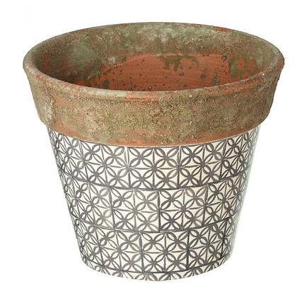 Rustic Tile Print Terracotta Plant Pot L
