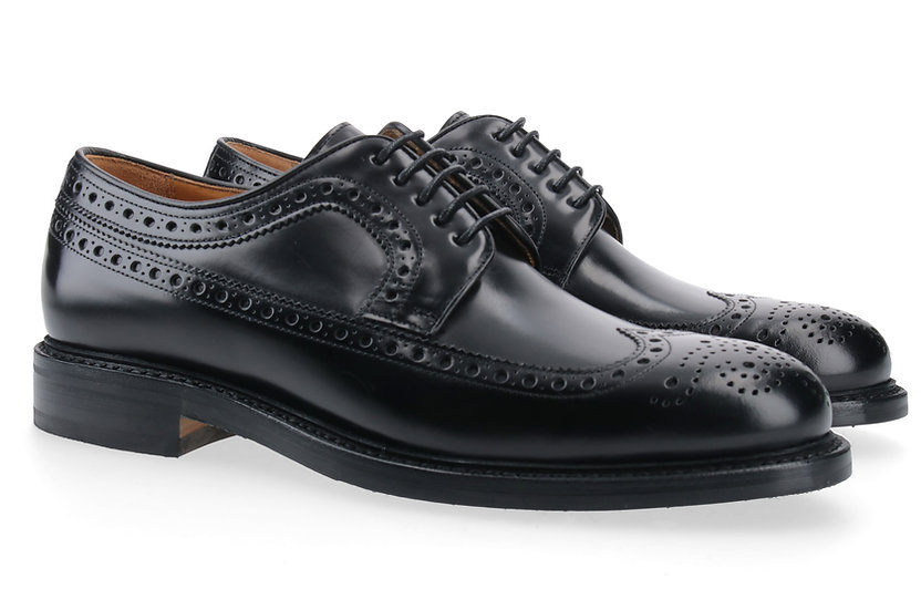 Full Brogue Derby Glanzleder schwarz
