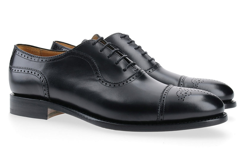 Oxford Semibrogue schwarz Ledersohle