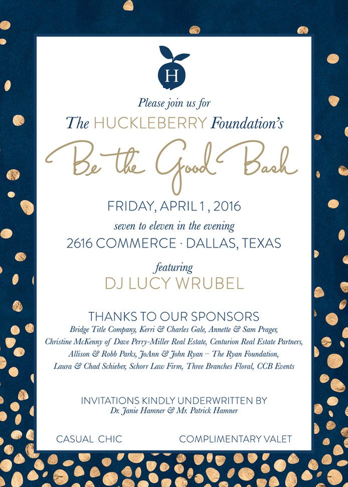 """The Huckleberry Foundation's """"Be the Good"""" Bash Set for April 1"""