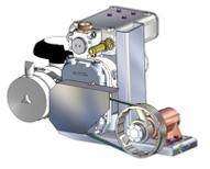 Compresor accionado mediante una transmisón por correas que a su vez esta accionado por u cardán