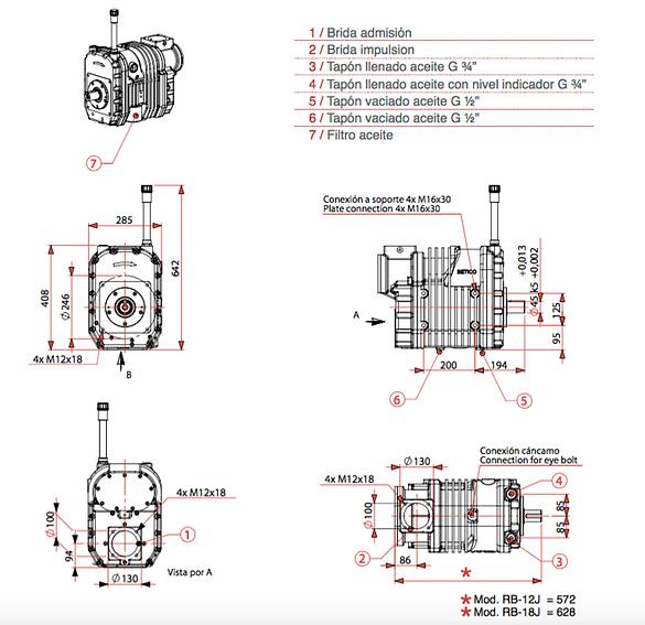 Explicación de dimensiones de la serie RB-J