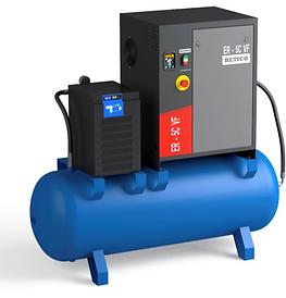 Compresores fiables utilizado para la pequeña industria, con motor eléctrico, ventilador centrifugo, deposito separador, variador de frecuencia Danfoss, rotores de alto rendimiento y válvula de aspiración muy simple y fiable