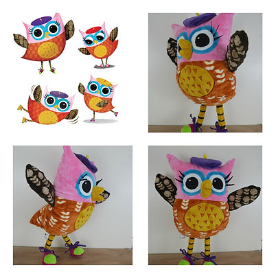 Book character soft toy, owl soft toy, hand made book character.