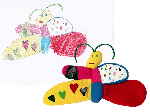 hand made btterfly soft toy, soft toy from drawing
