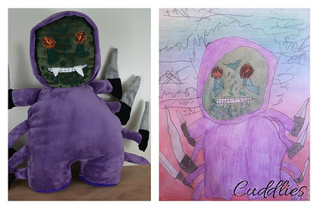 monster soft toy, halloween mascot, made from drowing