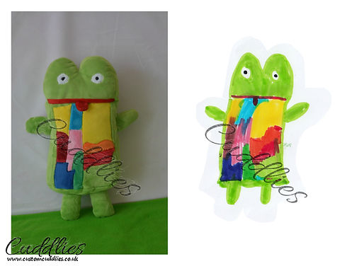 Green frog, kermit soft toy, hand made kermit soft toy.