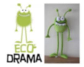 eco drama mascot, custom made mascot, green monster,