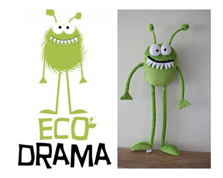 eco drama mascot, custom made mascot, green monster,