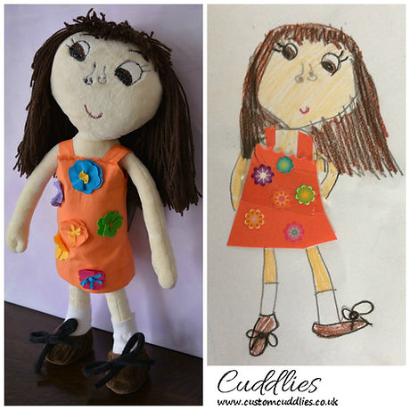 soft toy made from drawing,hand ma e doll