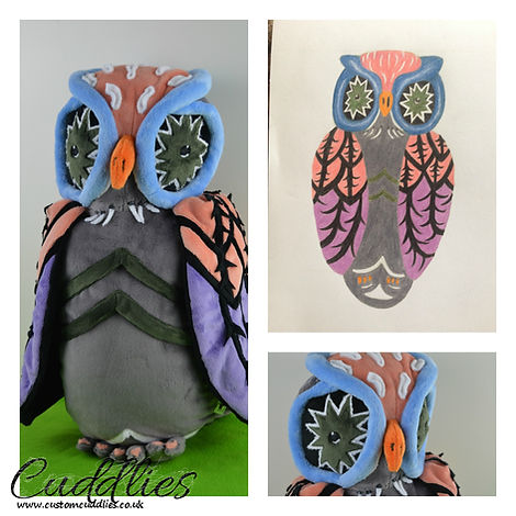 hand made owl soft toy, owl plush.