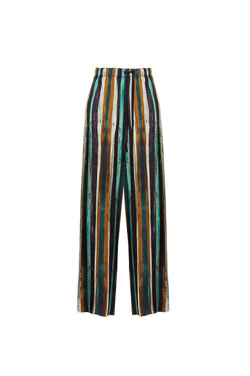 Printed striped wide leg pants