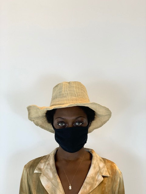 Straw textile hat in natural