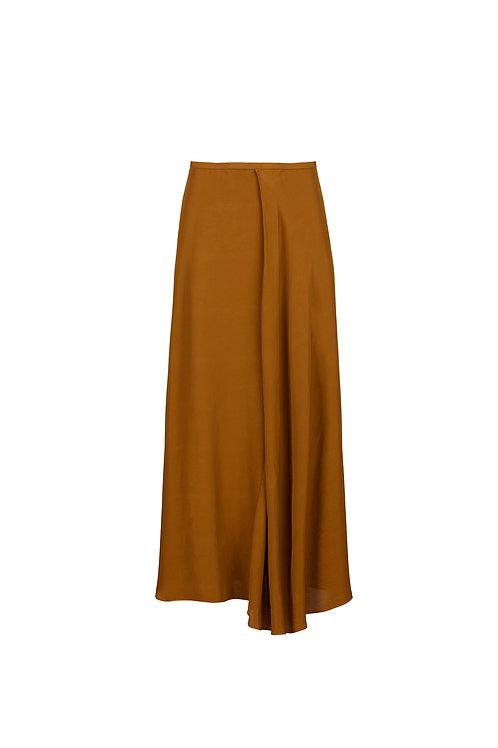 Asymmetric gabardine skirt