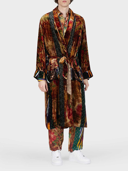 Long Velvet Robe with Belts and Pockets