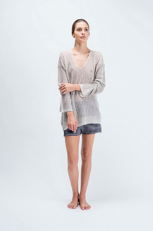 Deep V light sweater