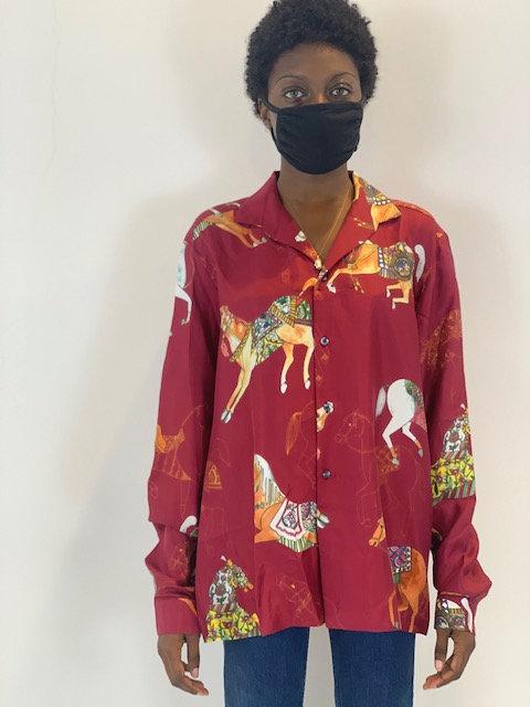 Oversized silk shirt long sleeve