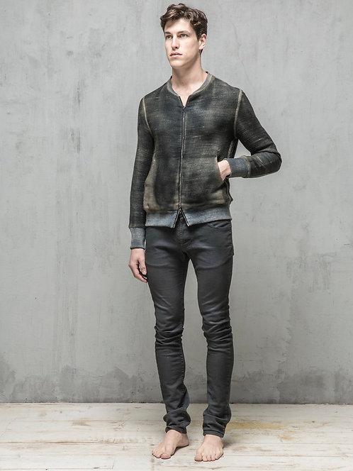 Zipper linen jacket with pockets