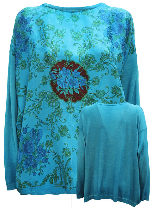 Boatneck pullover with one of a kind silk foulard in the front