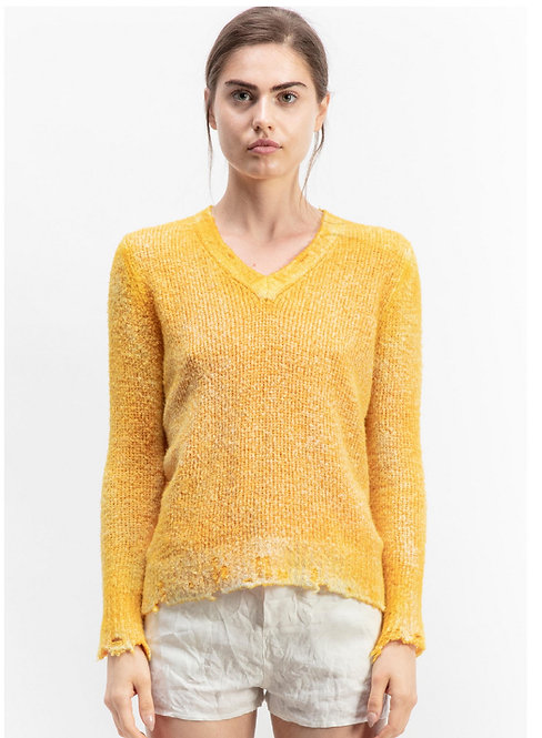V-neck brushed cotton pullover with destroyed edges