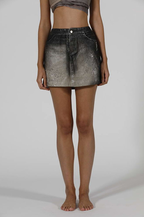 Mini skirt with lamination and studs