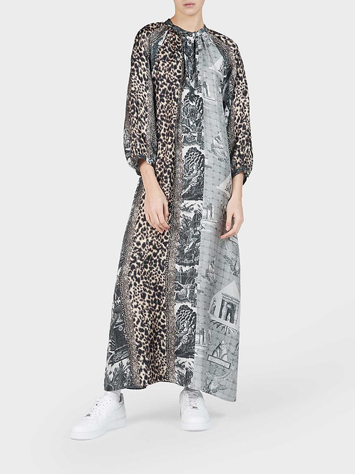 Oversized Dress with Mandarin Collar and Buttons
