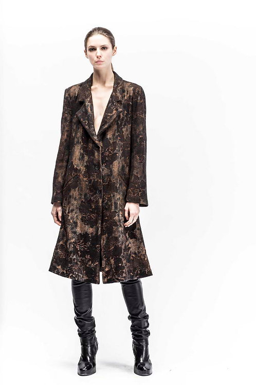 Black roses jacquard coat
