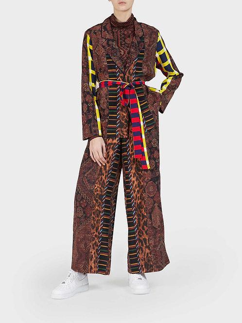 Kimono Jacket with Belt and Velvet Detail