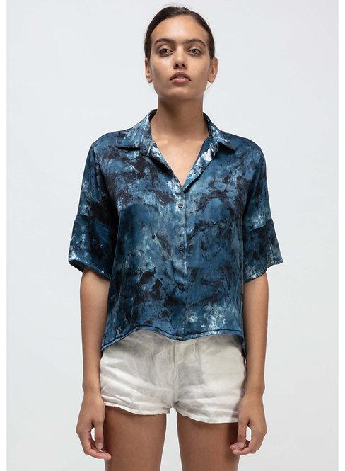 Short sleeve boxy blouse camouflage effect