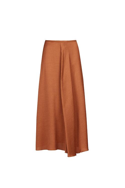 Asymmetric wrinkled twill skirt