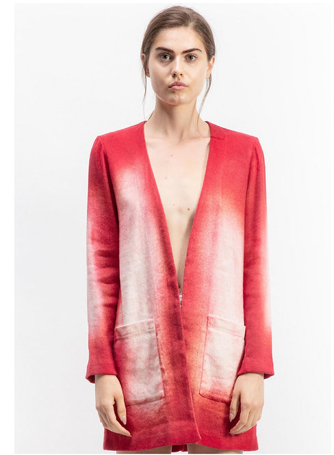 V-neck duster with zone dyeing