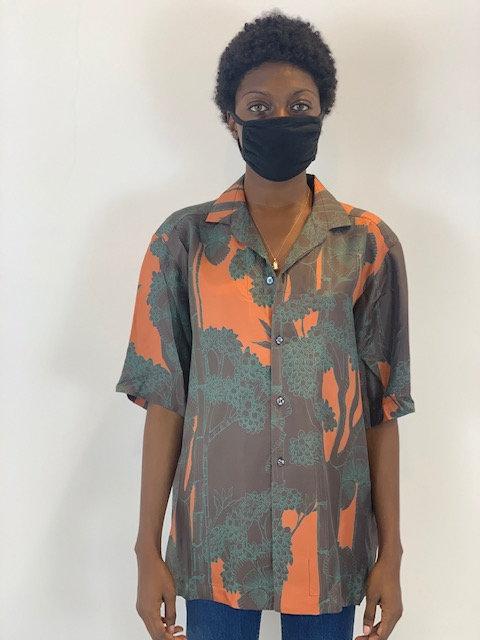 Oversized silk shirt short sleeve