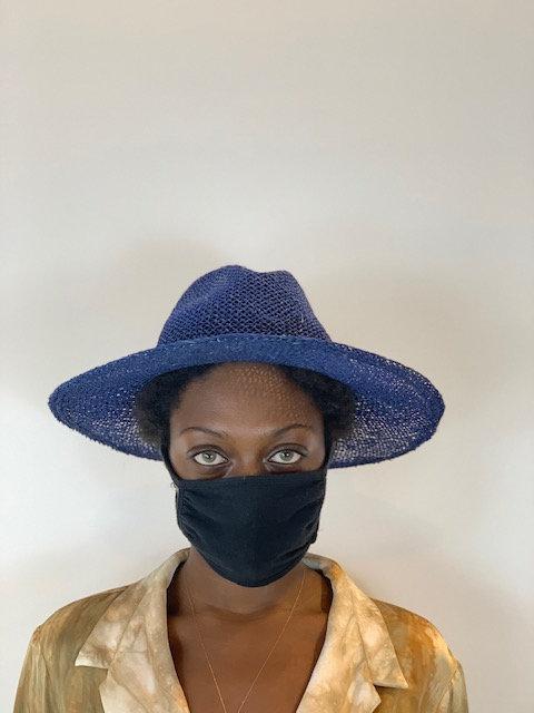 Straw cotton hat in cobalt