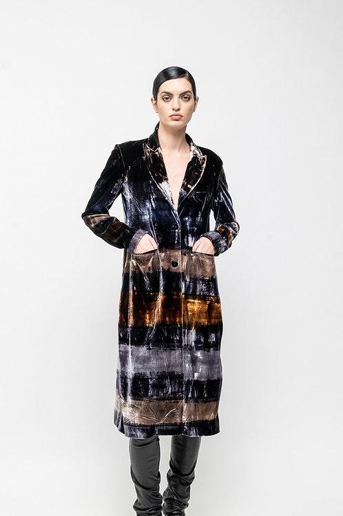 Stretch velvet coat with brush effect