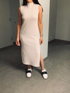 High Neck Sleeveless Dress with Slits