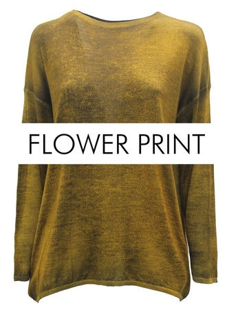 Crewneck sweater with floral print