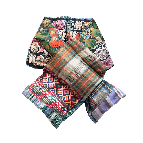ALOEUW/SW-030X160IP - Floral and Plaid stuffed scarf