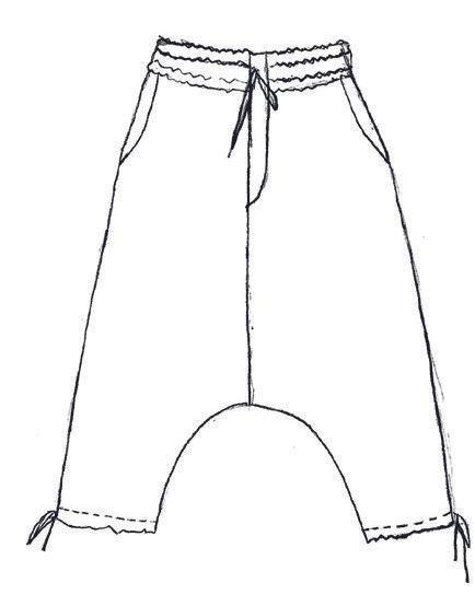 Silk velvet dropped crotch pant in black
