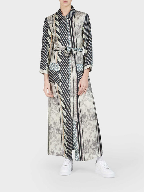 Silk Shirt Dress with Belt and Front Pockets