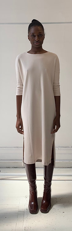 Boatneck Dress with 3/4 Sleeves