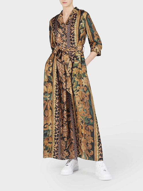 Silk Dress with Buttons, Belt, and Side Pockets