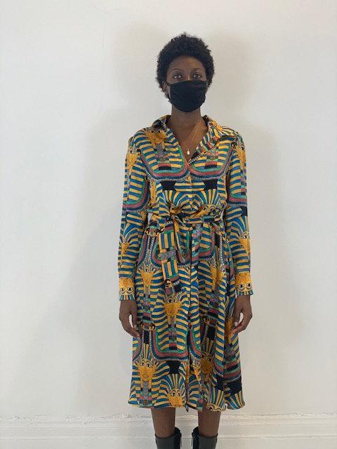 Shirt dress in silk