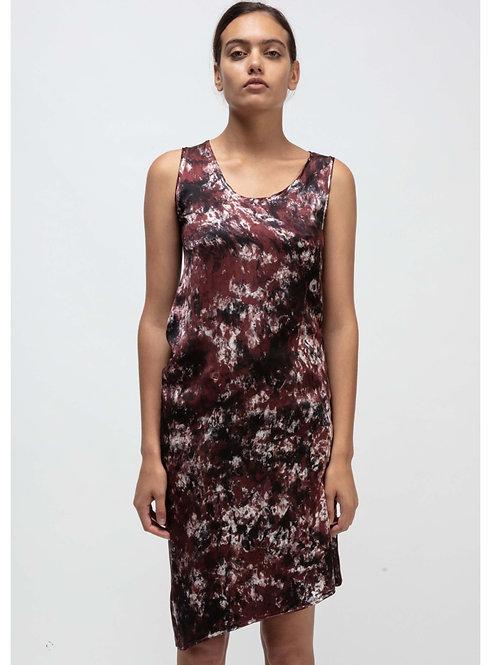 Asymmetric silk mid dress camouflage effect