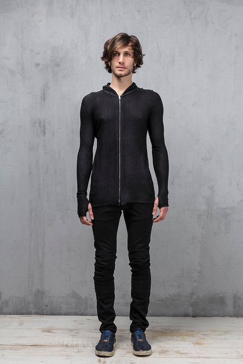 Fitted zipper jacket with hoddie