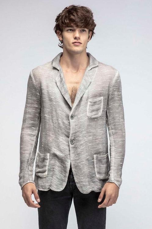 Linen blazer with brush effect