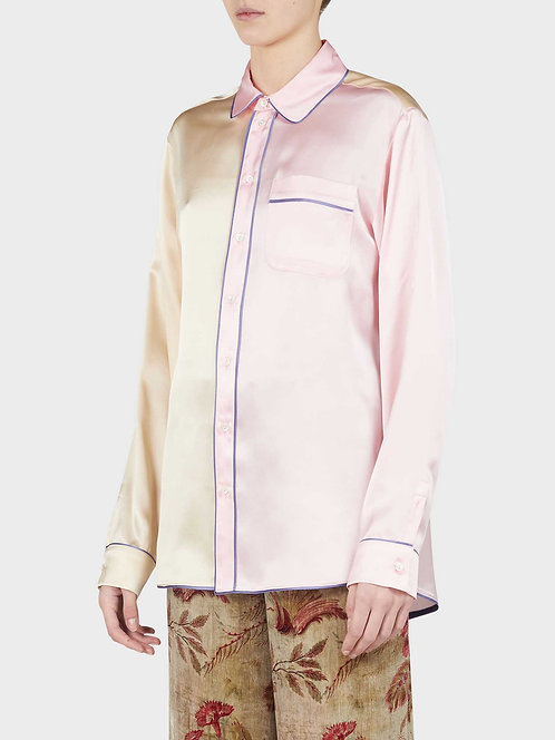Double Color Pyjama Shirt with Front Pocket