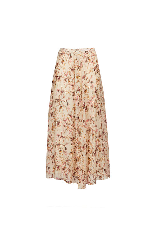 Asymmetric floral long skirt