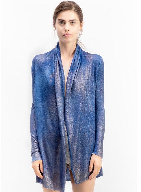 Draped shawl cardigan with lamination